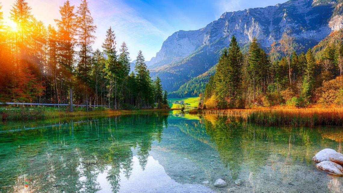 The area of Hintersee Lake in the Bavarian Alps